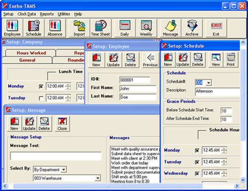 Exeba Time and attendance, Labor Tracking, and Access Control software